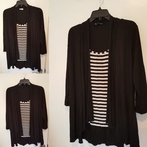 Black and White striped blouse with cardigan